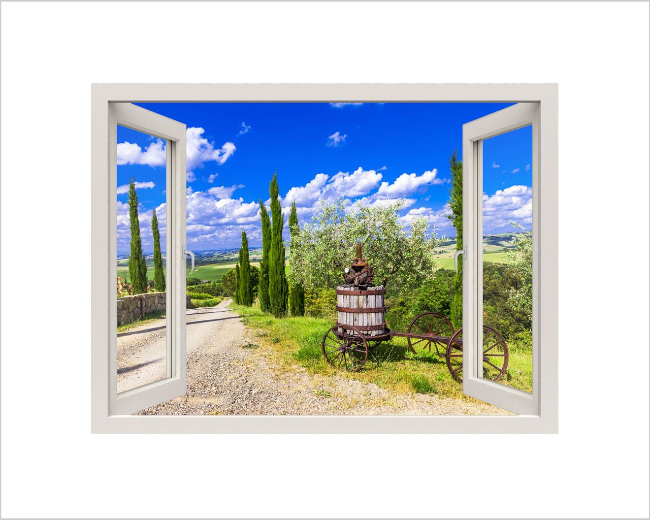 Viale di campagna natura finestra illusione interni - Adesivi per finestre ...