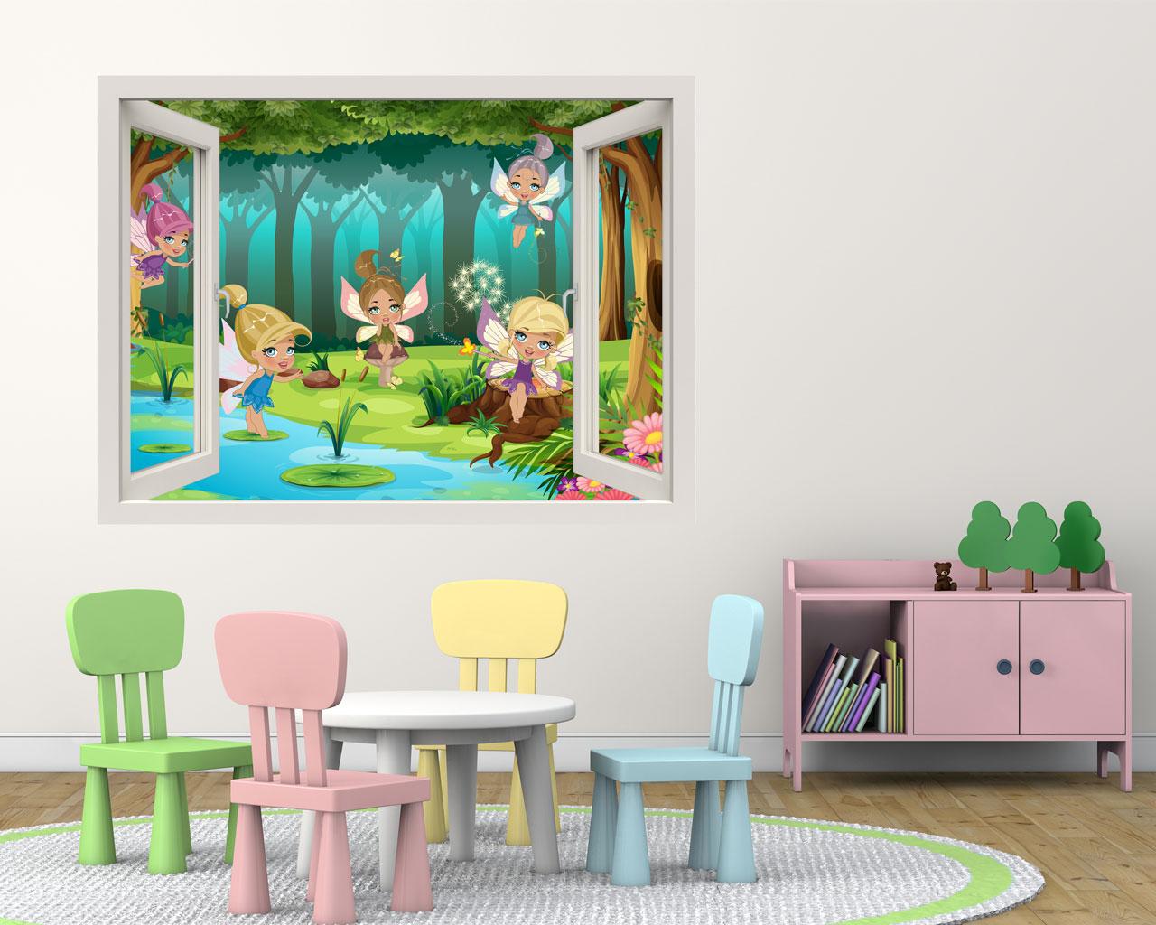 Fatine nel bosco incantato infanzia finestra illusione - Quadri con finestre ...