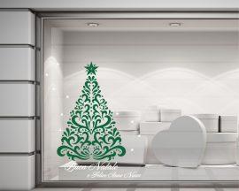 Adesivo per vetrine-Buon Natale con albero
