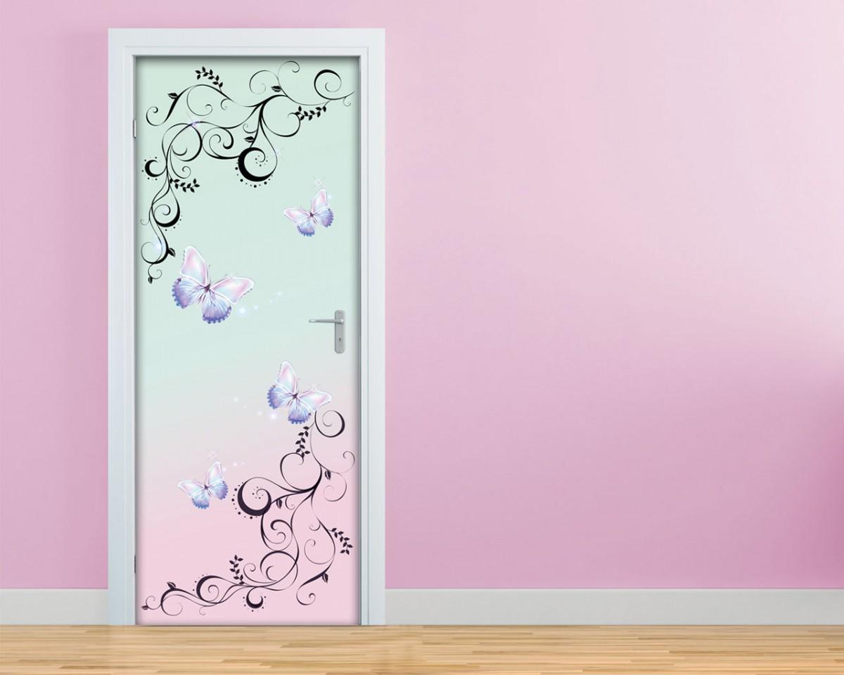 Delicate farfalle con decori decori adesivo per porte - Fondo rasante per piastrelle murali ...