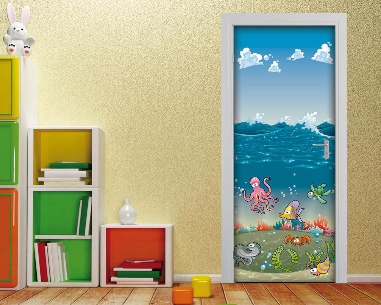Simpatici amici sott acqua infanzia adesivo per porte - Decorazioni camera bimbi ...