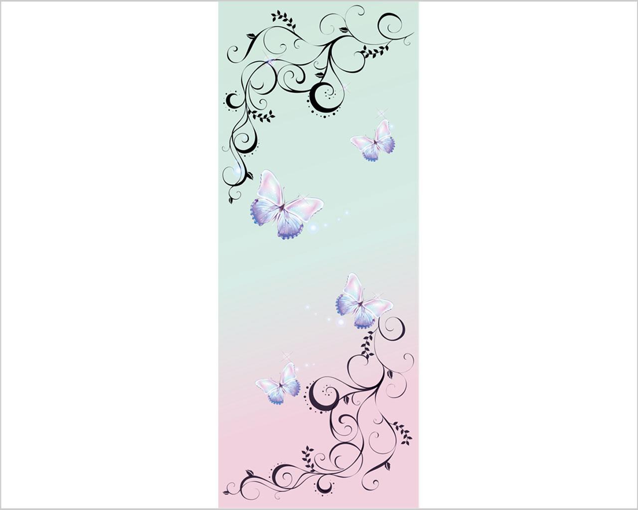 Farfalle su fondo chiaro decori adesivo per porte - Fondo rasante per piastrelle murali ...