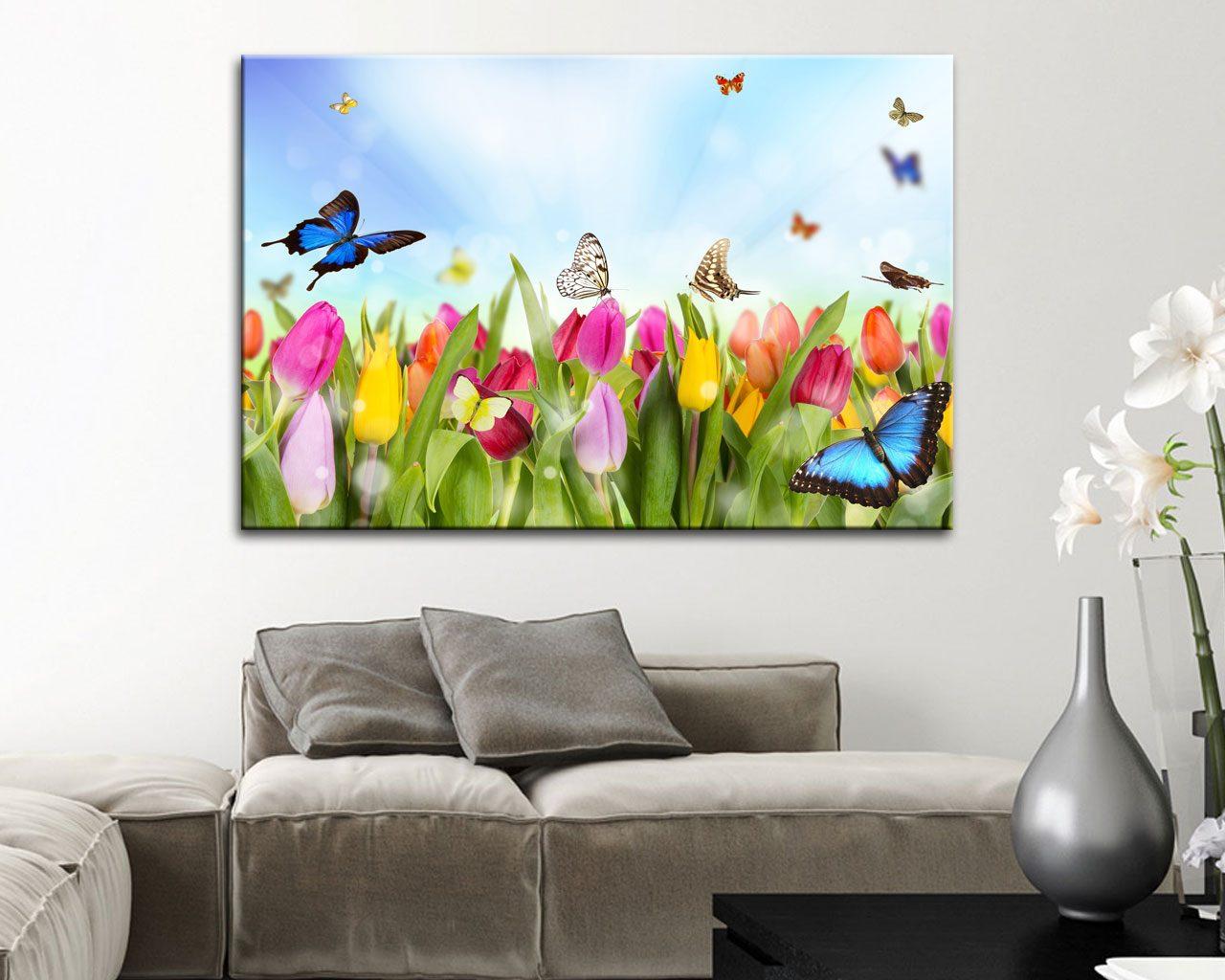 Tulipani e farfalle fiori stampa su tela for Quadri moderni su tela