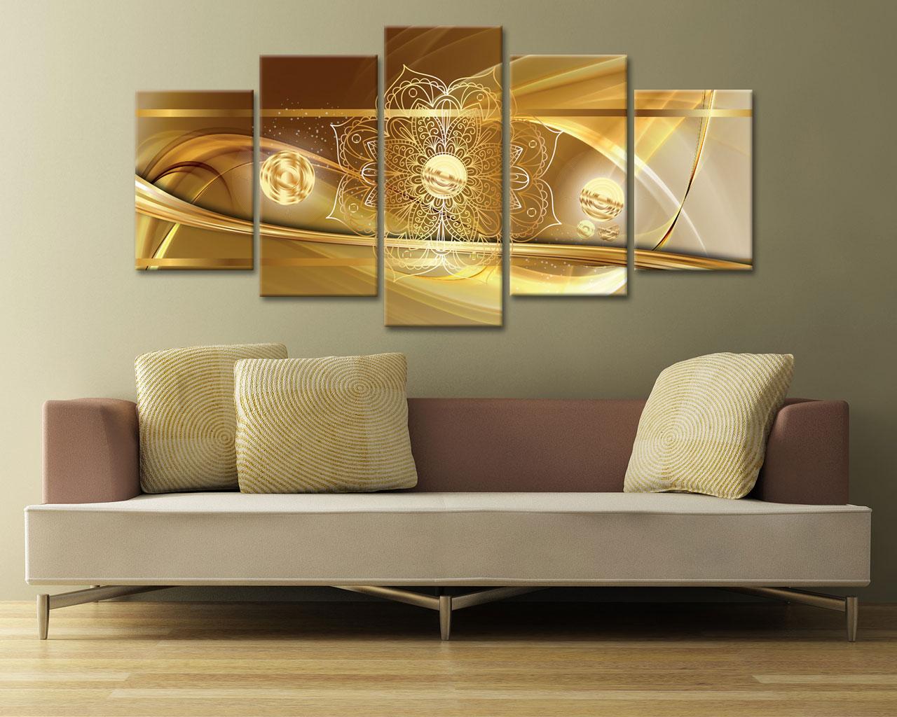 Decori con onde d oro astratto stampa su tela for Quadri moderni su tela
