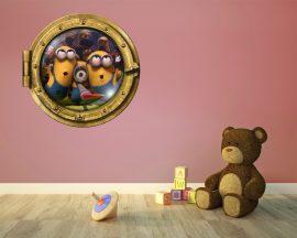 Sticker oblò-tre simpatici Minions