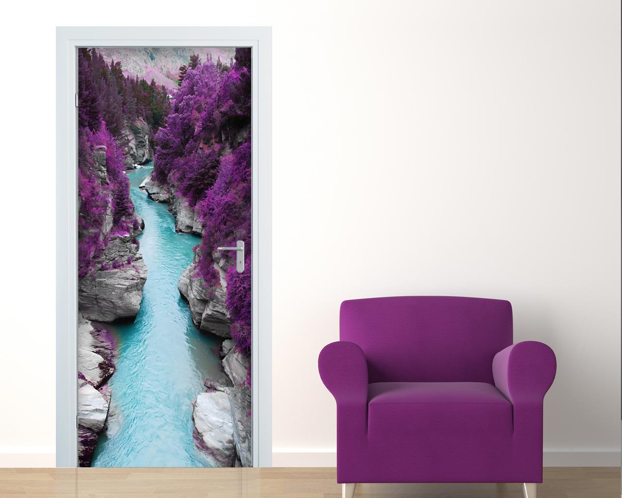 Adesivo per porte-nella foresta viola