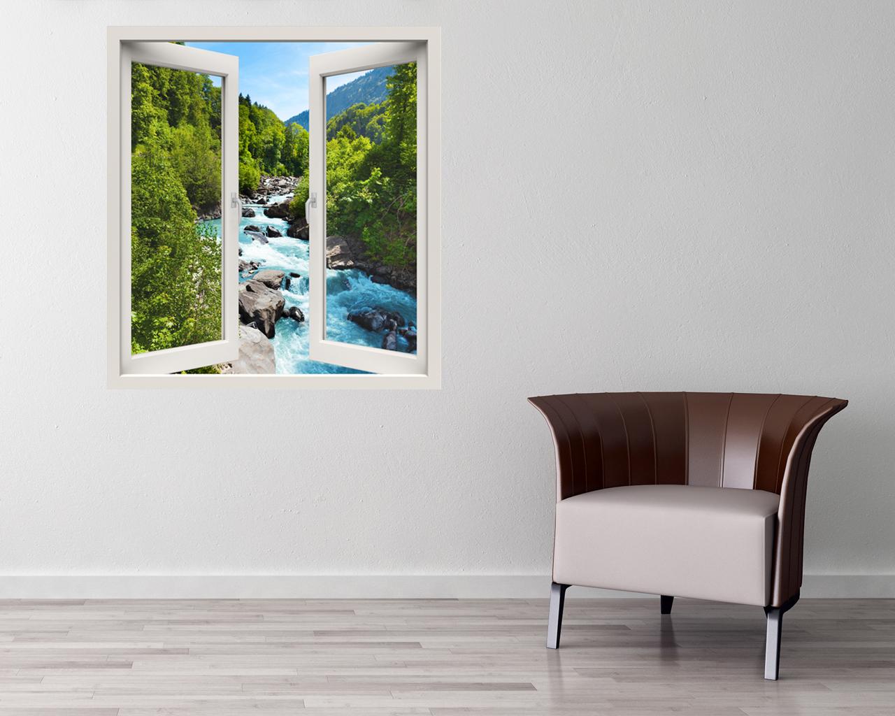 Finestra adesiva-vista sul fiume impetuoso