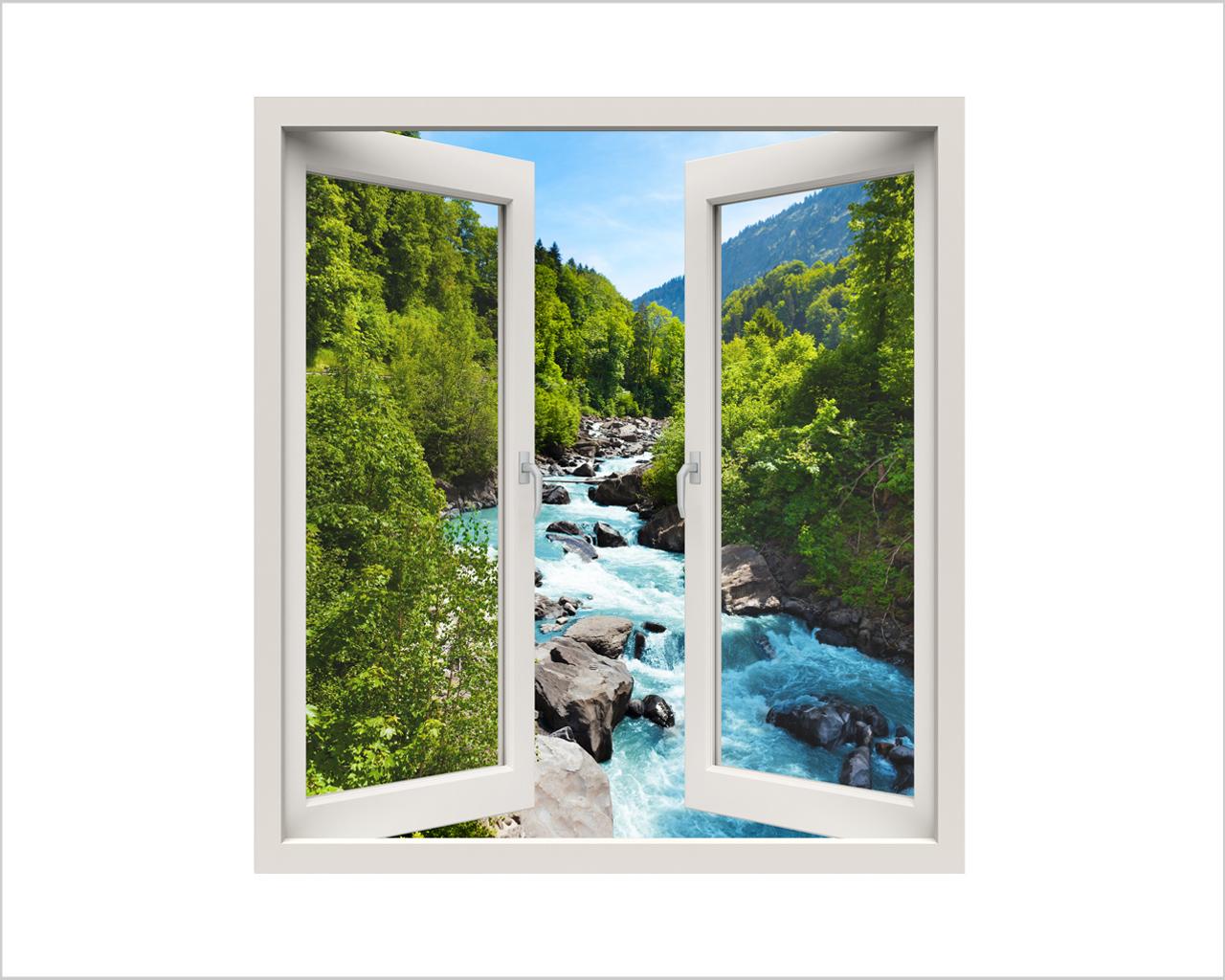 Vista sul fiume impetuoso natura finestra illusione - Adesivi natalizi per finestre ...