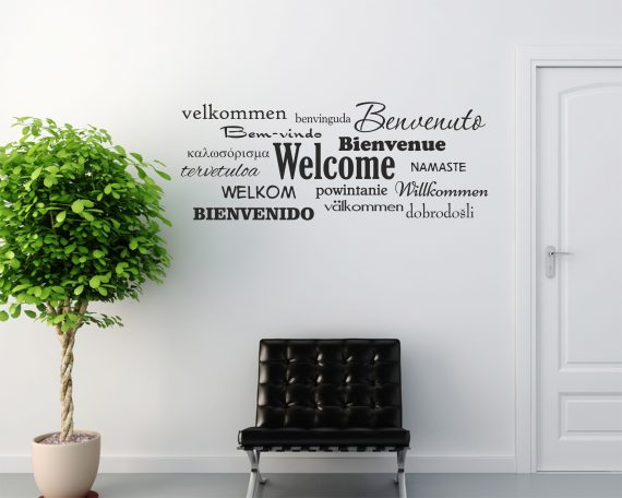 Adesivo murale-benvenuto in varie lingue