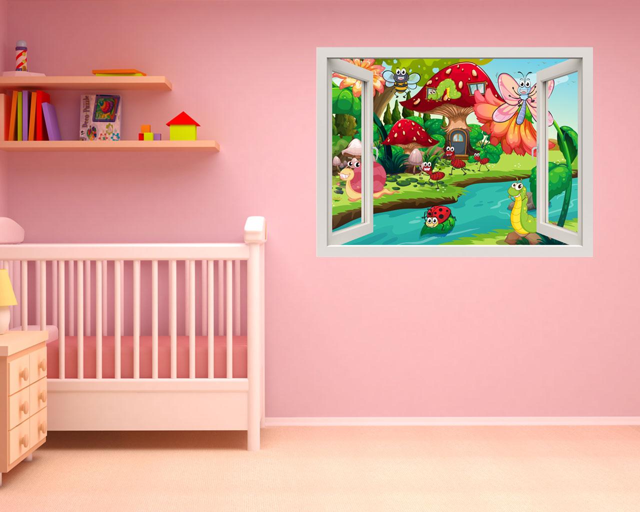 Vita nella natura infanzia finestra illusione - Adesivo murale finestra ...