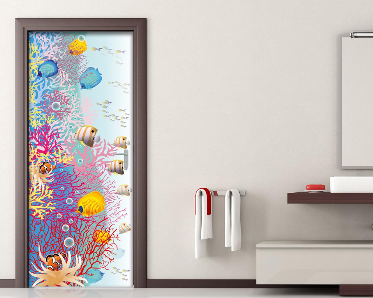 Tra pesci tropicali animali adesivo per porte interni decori adesivi murali wall - Decorazioni porte interne ...
