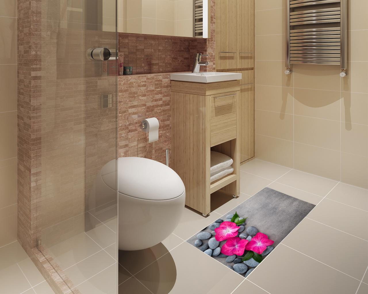 Adesivo per pavimenti-pietre e fiori viola