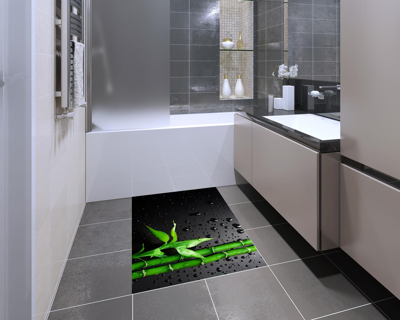 Adesivo per pavimento-Ramo di bamboo