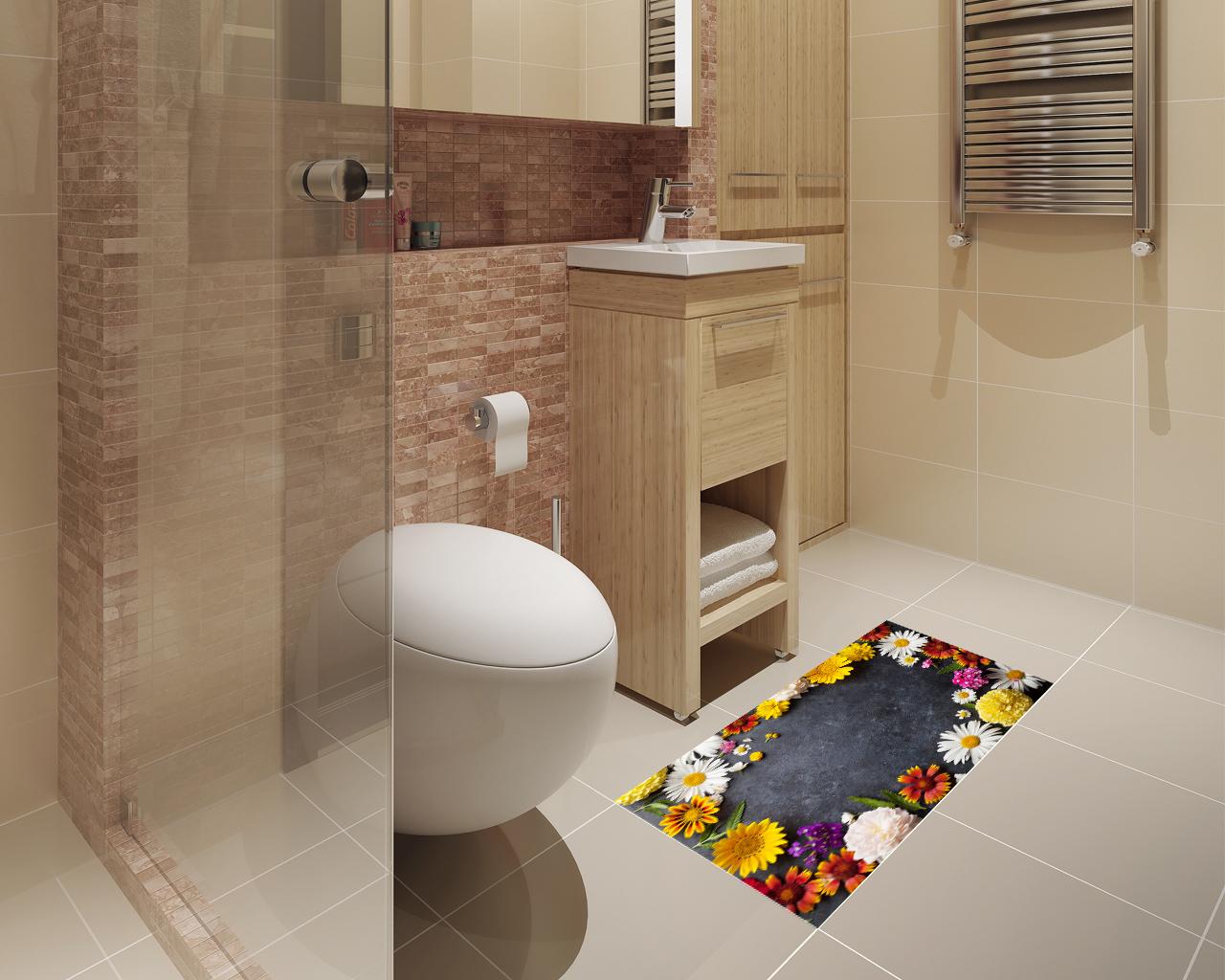 Adesivo per pavimento-tra margherite colorate