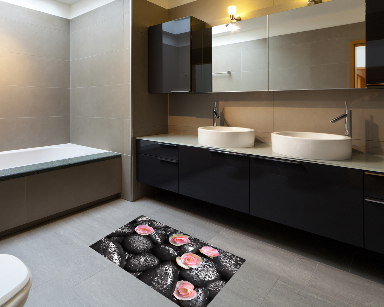 Adesivo per pavimento-Fiori su pietre nere