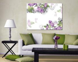 Stampa su tela-Fiori lilla e decori