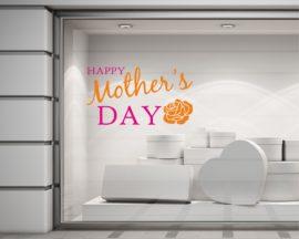 Adesivo per vetrina-festa della mamma con rosa