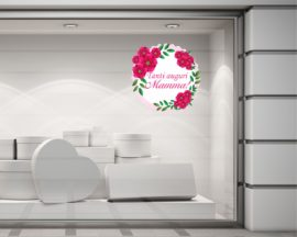 Adesivo per vetrine-ghirlanda di fiori