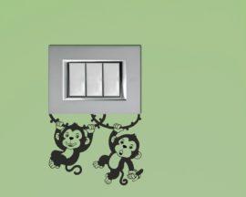 Mini sticker murale-scimmiette sulle liane