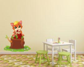 Adesivo murale-gattino che mangia ciliegie