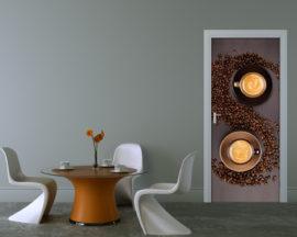 Adesivo per porte-Tazzine di caffè con chicchi