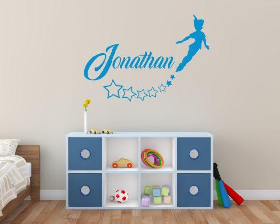 Adesivo murale personalizzato-Adesivo Peter Pan+nome