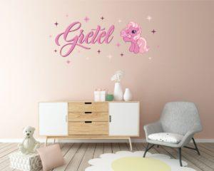 Adesivo personalizzato-wall sticker Mini pony con nome