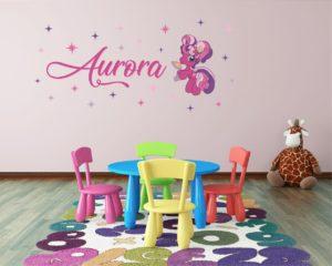 adesivo murale personalizzato-Wall sticker Mini pony 2 con nome