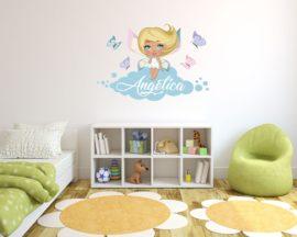adesivo murale con nome-adesivo da parete fate-tra delicate farfalle