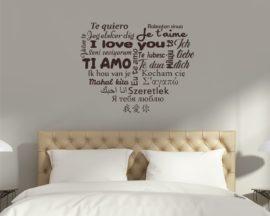 Adesivo murale-cuore con scritte in varie lingue-adesivo scritta ti amo